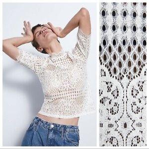 NWT. Zara White Lace Top. Size M.